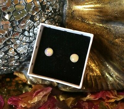 Colourful natural Ethiopian Opal 6mm cabochon sterling silver stud earrings 🍭
