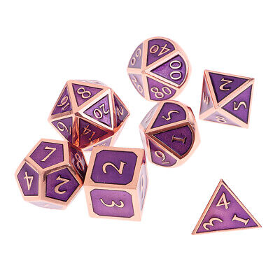 7PCS/Set Multi-sided Metal Dice TRPG Games Dungeons & Dragons D4-D20 Dices