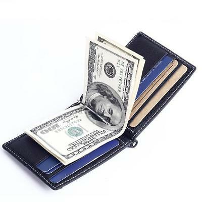 Ultra-thin Leather Money Clip Slim Wallet ID Credit Card Holder Purse Bags MN