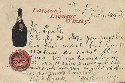 1893 Lawson's Liqueur Whisky Postcard With Uprated Stamp To Gb My Ref 2450