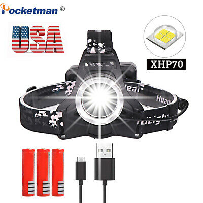 200000lm xhp70 Led Headlamp Rechargeable Headlight Head Torch  lantern 3*18650