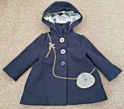 Girls Next Navy Smart Coat Hooded Button Up Party Age 9-12 Months B40