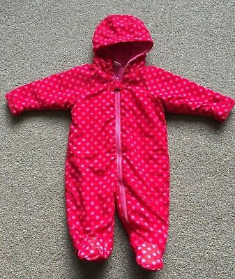 Girls Next Snow Suit Red Pink Spotty With Hood 3-6 Months Winter Pram Suit B68