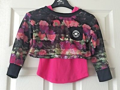 Girls All Star Converse Top Age 3-4 Years Pink Multi-Coloured Long Sleeve B35