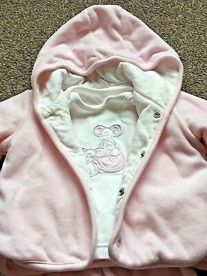 Girls M&S 3 Piece Outfit Set Pink Velour Trousers T-Shirt Jacket 0-3 Months B59