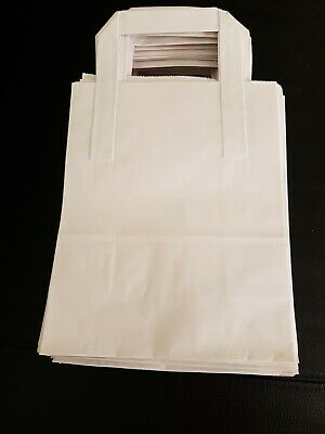 50 White Take Away Party Paper Carrier Gift Bag Small - 7 x 9 x 3.5 APPROX.