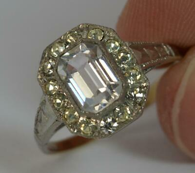 Art Deco 9ct Gold and Silver Paste Set Cluster Ring t0355