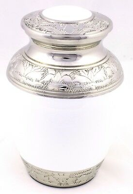 """Cremation Urn For Ashes Child urn Cremation Funeral Memorial 6"""" Small White urn"""
