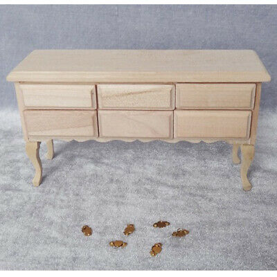 Unpainted Miniature Wooden 6-Drawers Table for 1/12 Dollhouse DIY Furniture