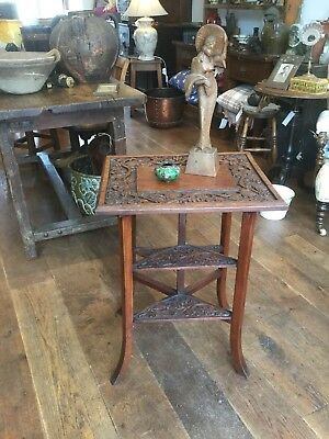 Antique Side Occassional Table Mahogany Carved Arts And Crafts Lamp Coffee Sofa
