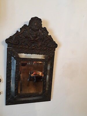 patinated french brass repousse mirror 19th century