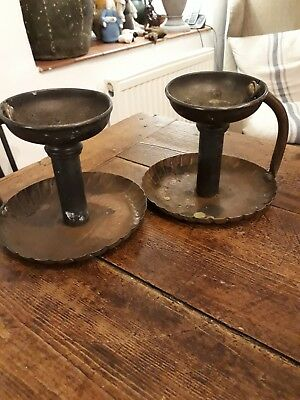 Pair Of Arts And Crafts Copper Candlesticks Goodnight Chambersticks To Restore