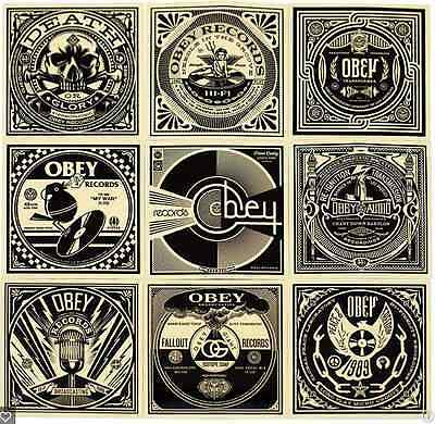 "SHEPARD FAIREY Obey Giant Transformer 50 SHADES OF BLACK 4/"" Sticker poster"