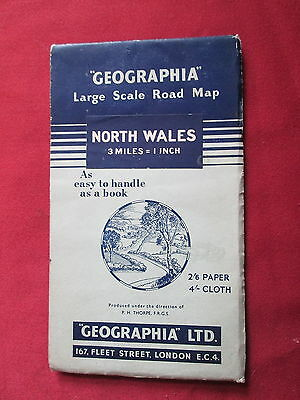 """Geographia Paper 3mls to 1"""" Large scale Road North Wales-v.good"""