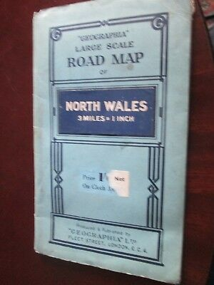 """Geographia Large scale Road Map 3mls to 1""""  North Wales 1930's paper"""