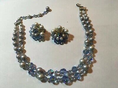 Vintage Powder Blue Aurora Borealis Glass Faceted Bead Necklace Earring Set