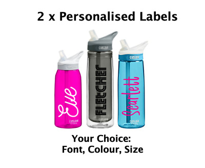 2 x  12cm Personalised Water Bottle Stickers / Kids School Lunch Box Name Labels