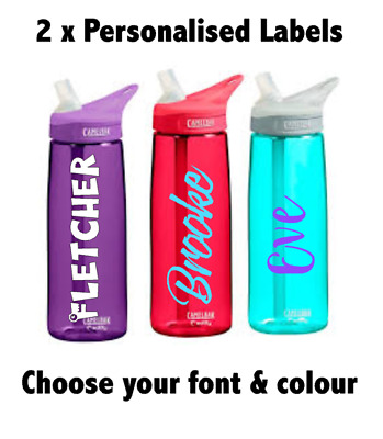 2 x 170mm Personalised Water Bottle Stickers/ Kids School Lunch Box Name Labels