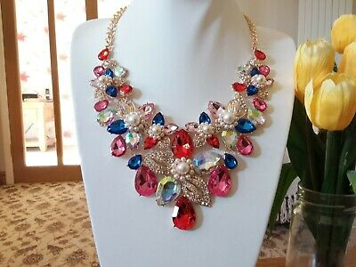 Brand new massive stunning gold statement necklace with multi coloured crystals