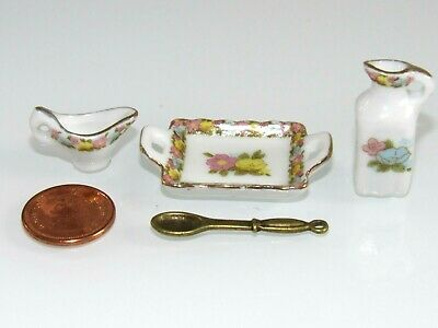 New Jug/tray/spoon/gravy Boat/ Flower Dishes For/fits Dollhouse Mattel Doll