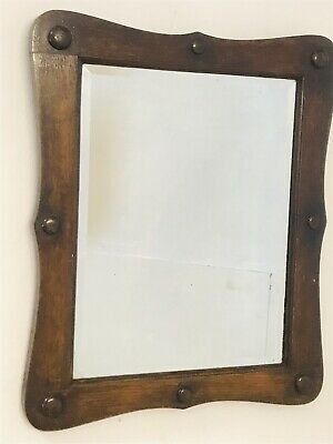 Victorian Shaped Oak Framed Mirror with Bevelled Edge and Bobbin Decoration