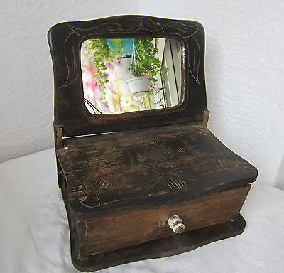 19thC Antique dressing table wIth drawer, ornate carving folk art