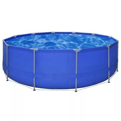 15ft x 4ft Steel Frame Round Above Ground Swimming Pool Garden Family Party Blue