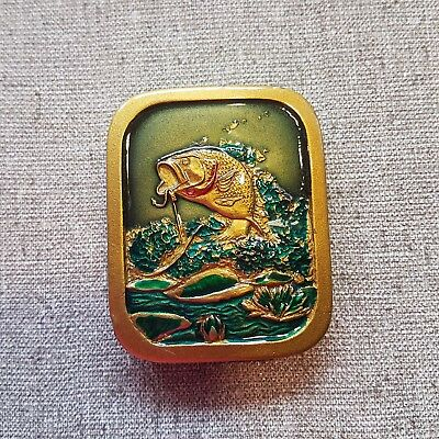 Vintage colored BASS Brass Belt Buckle Indiana Metal Craft 1976 marked A97