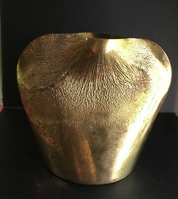 Vintage Solid Brass Sculpture Vase Kepcsarnok Hungarian? Art Antique Textured