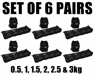 Fxr Sports 6 Pairs Of Wrist Ankle Weights Resistance Strength Training Gym Fitne
