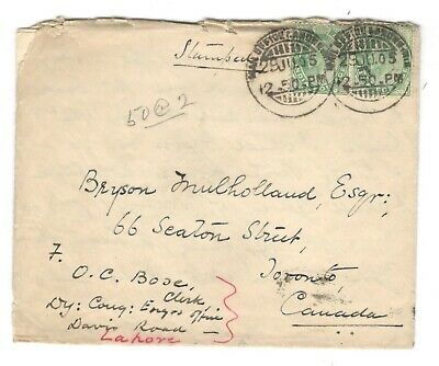"1905 India Cover to Toronto, Canada w/ Letter Sea Post Office ""B"" CDS Cancel"