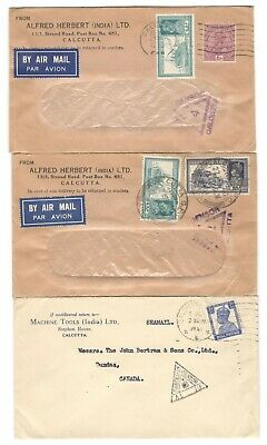 3x 1940's India Airmail Censored Covers to Canada