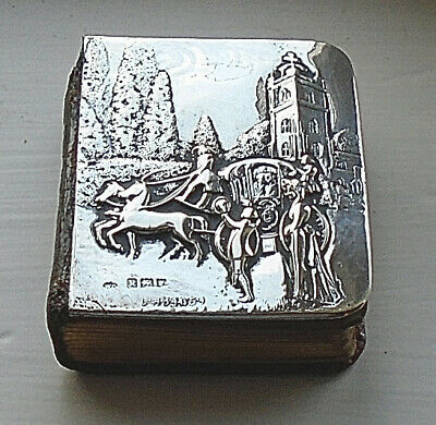 Antique Silver & Leather Miniature Book London 1905 Silver By William Comyns