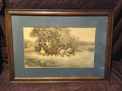 """Antique Horse Coaching picture - H Whittaker Reville - Reframed 28.5"""" x 20.5"""""""
