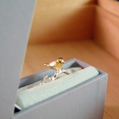 Silver & Gold Ring Little Bird on Branches In Gift Box New UK J K L US 5-6 EU 50