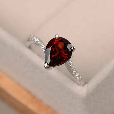 1.70 Ct Pear Natural Ruby Diamond Wedding Ring 14K White Gold Size 5 6.5