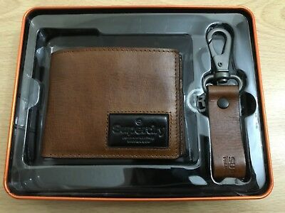 Superdry Super Jackson Wallet And Keyring Gift Set - Tan Suede BNWT