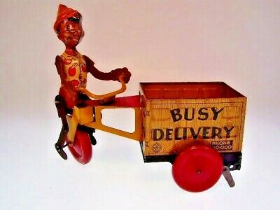 "gsTOP GSCOM ""BLACK PINOCCHIO BUSY DELIVERY"" MARX 1930s, 24cm,WUP OK,VERY GOOD"