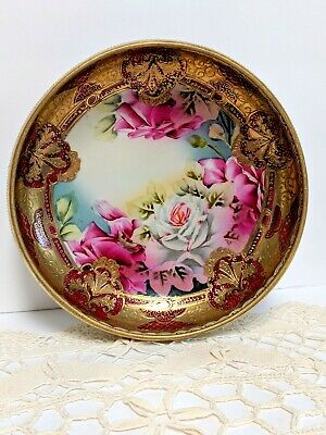 Hand Painted Antique Nippon footed bowl w/LOTS of GOLD GILT & Roses, STUNNING