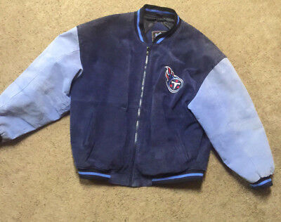 965dffc2 TENNESSEE TITANS FULL Zip Titans Blue Red Suede Leather Jacket Size ...
