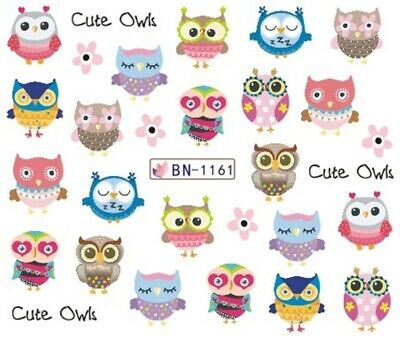 Nail Art Stickers Water Decals Transfers Cartoon Cute Owl Chicks (BN1161)