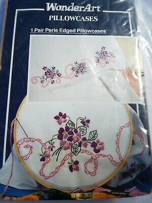 WonderArt Pillowcase Cross Stitch Pre Stamped 1165 VIOLETS Floral Flowers Swag