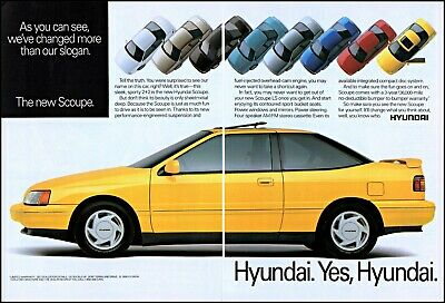 1990 Hyundai Scoupe cars sport 2+2 automobiles vintage photo Print Ad ads36