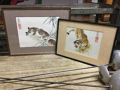 Pair Framed Vintage Chinese Watercolour Paintings Of Fox And Tiger Signed