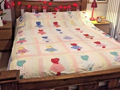 Beautiful Vintage American Sun Bonnet Sue Quilt - Stunning, Rare King Sized