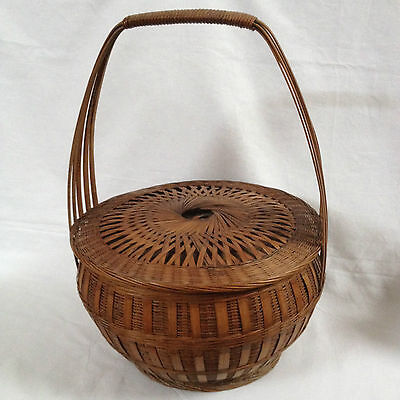 Asian Bamboo Hand Woven Wedding/Food/Sewing Basket