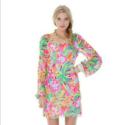 2830b6198d7 Lilly Pulitzer Flamingo Carleigh Tunic Dress Sz 4 Pink Shift Floral Tropical