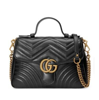 4d28ba9eafbe Gucci GG Marmont Small Chevron Quilted Top-Handle Bag with Chain Strap Black