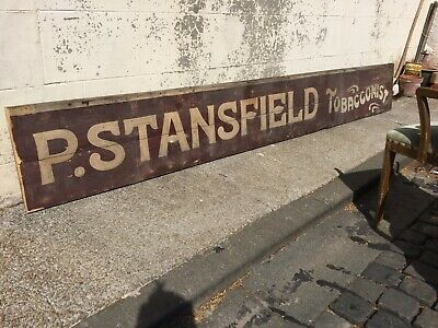 Huge Reclaimed Antique Hand Painted Wooden Shop Sign TOBACCONIST Burgundy/Cream