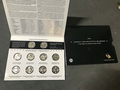 2011 P & D US Mint America the Beautiful Uncirculated 10 Coin Quarter Set 25c